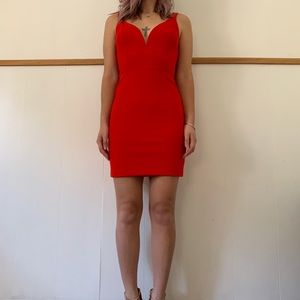 Red Express Dress with Plunging Neckline Size 0